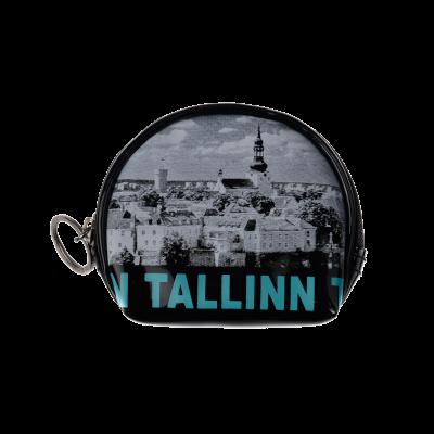 Tallinna vanalinna pildi ja siniste kirjadega mündikott S