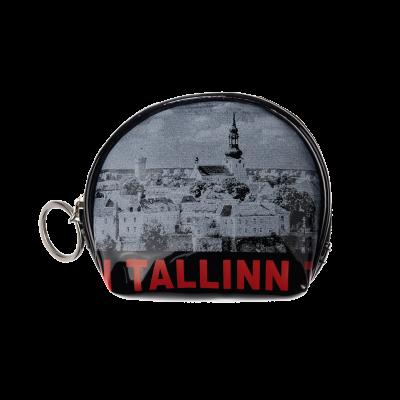 Tallinna vanalinna pildi ja punaste kirjadega mündikott S