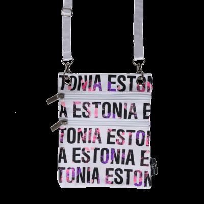 Fuksia kirjadega Estonia kaelakott valgel taustal