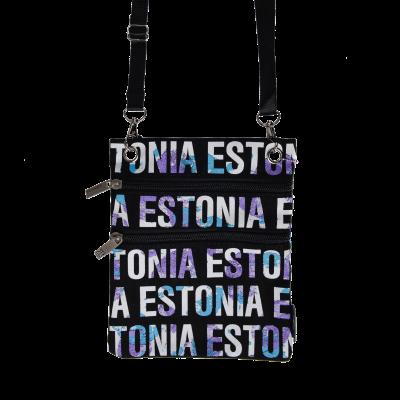 Siniste kirjadega Estonia kaelakott mustal taustal