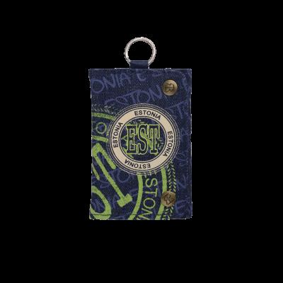 Sinine Estonia rahakott roheliste kirjadega ja teksa materjalist