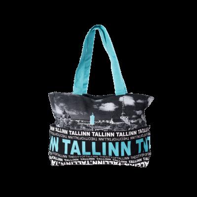 Siniste kirjadega Tallinna õlakott koos välistaskutega