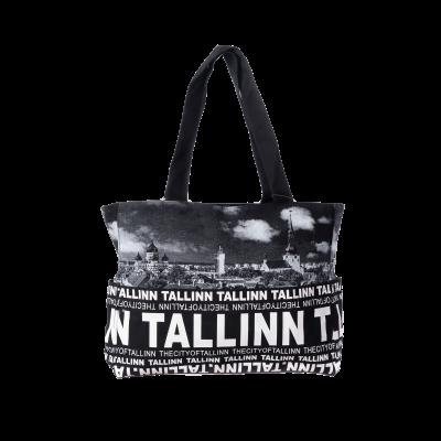 Must/valgete kirjadega Tallinna õlakott koos välistaskutega