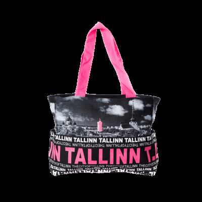 Roosade kirjadega Tallinna õlakott koos välistaskutega