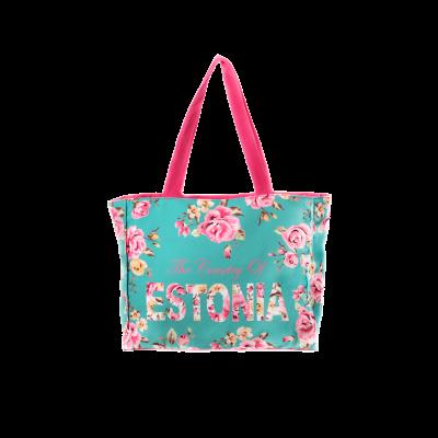 Mereroheline lilledega Estonia käekott (28x38)
