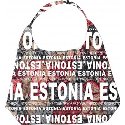 Naiste kangast lilleline õlakott Estonia hall