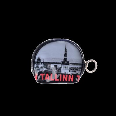 Tallinna pildi ja punaste kirjadega mündikott S