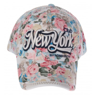 Nokamüts valge lilleline New York