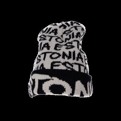 Must-Valge pibo Estonia talvemüts