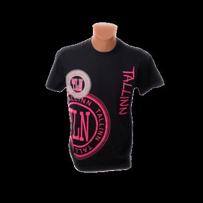 Tallinna T-särk roosade kirjadega