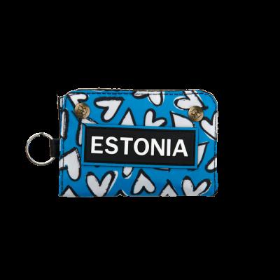 Rahakott Estonia südametega sinine