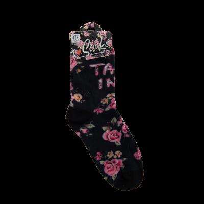 Naiste lillelised sokid, must